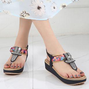 Women's Rhinestone Flip-Flops Flat Heel Sandals Platforms_2