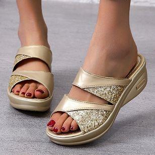 Women's Split Joint Peep Toe Wedge Heel Sandals_2