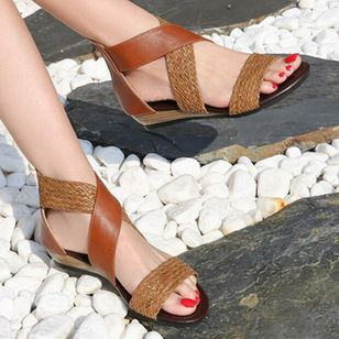 Women's Braided Strap Split Joint Heels Wedge Heel Sandals_5