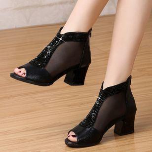 Women's Beading Zipper Heels Fabric Sparkling Glitter Chunky Heel Sandals_3