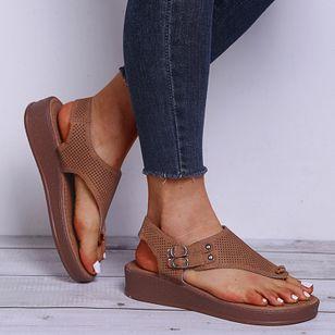Women's Buckle Flip-Flops Flat Heel Sandals Platforms_3