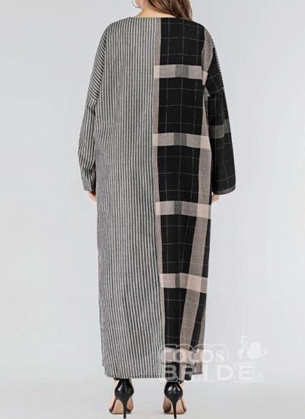 Black Plus Size Plaid V-Neckline Casual Pockets Maxi Plus Dress_3