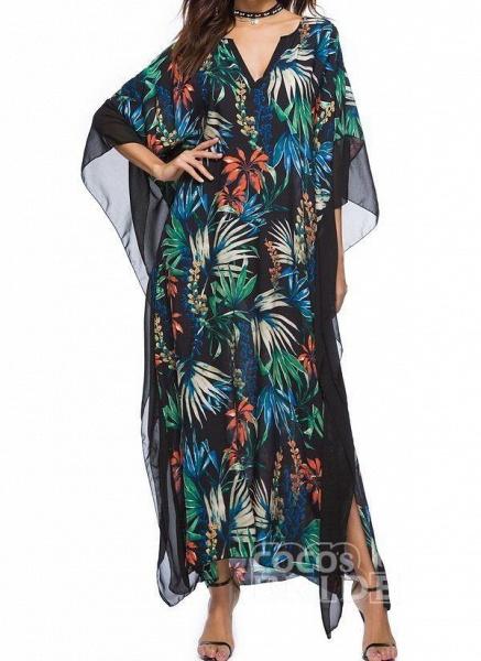 Black Plus Size Floral V-Neckline Casual Maxi Plus Dress_7