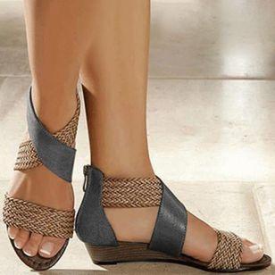Women's Zipper Round Toe Wedge Heel Sandals_7