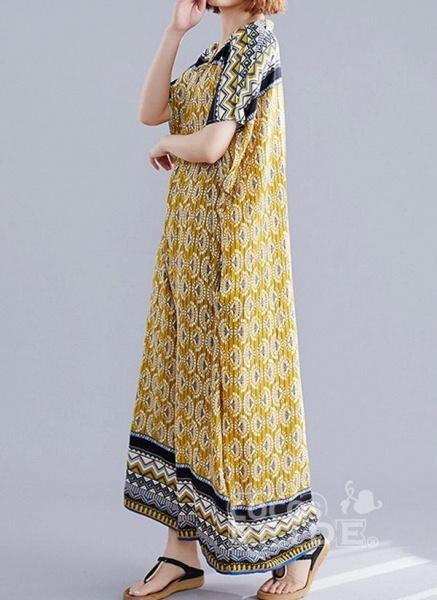 Yellow Plus Size Block V-Neckline Casual Maxi Plus Dress_3