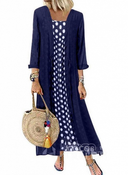 Black Plus Size Polka Dot Round Neckline Casual Buttons Maxi Plus Dress_2