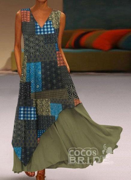 Yellow Casual Geometric Tunic V-Neckline A-line Dress_7