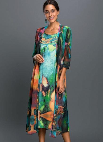 Arabian Floral Wrap Tunic A-line Dress_4