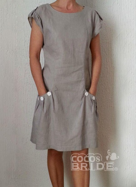 Gray Plus Size Tunic Solid Round Neckline Casual Pockets Plus Dress_2