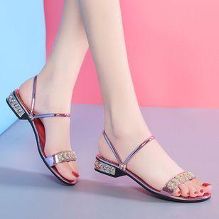 Women's Rhinestone Flats Chunky Heel Sandals Slippers_4