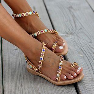Women's Crystal Slingbacks Flat Heel Sandals_4