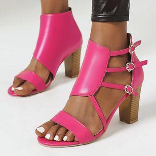 Women's Buckle Heels Chunky Heel Sandals_3