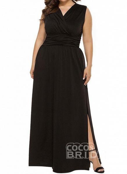 Blue Plus Size Solid V-Neckline Casual Ruffles Maxi Plus Dress_8