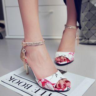 Women's Beading Buckle Heels Leatherette Stiletto Heel Sandals_1