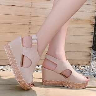 Women's Buckle Peep Toe Slingbacks Wedge Heel Sandals_4