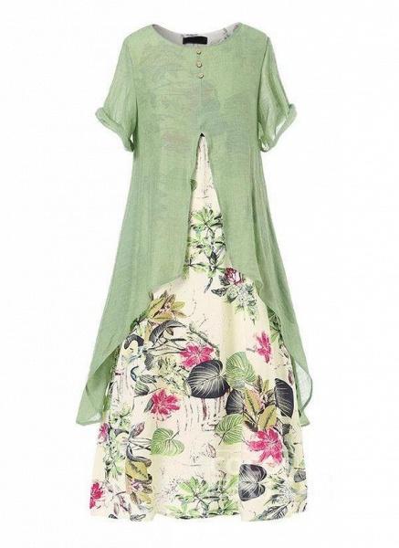 Orange Plus Size Tunic Floral Round Neckline Casual Maxi Plus Dress_2