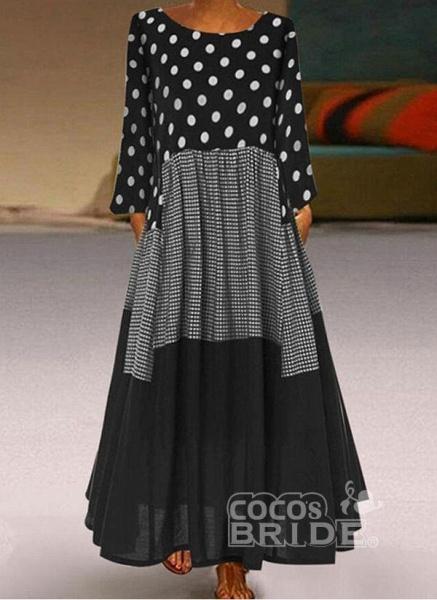 Plus Size Tunic Polka Dot Round Neckline Casual Maxi Plus Dress_2