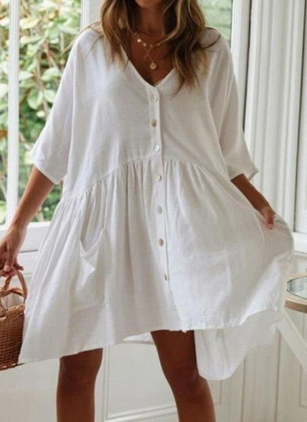 White Plus Size Tunic Solid V-Neckline Casual Pockets Buttons Plus Dress_1