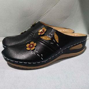 Women's Flower Closed Toe Wedge Heel Sandals_5