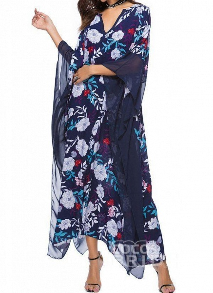 Plus Size Tunic Floral V-Neckline Casual Plus Dress_2