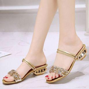 Women's Sparkling Glitter Slingbacks Low Heel Sandals_3