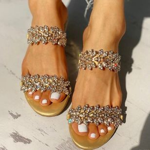 Women's Sequin Flower Slingbacks Flat Heel Sandals_5