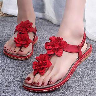 Women's Flower Flip-Flops Flat Heel Sandals_1