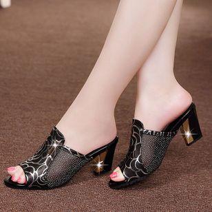 Women's Flower Peep Toe Fabric Chunky Heel Sandals_2