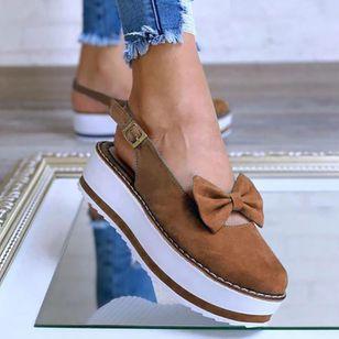 Women's Bowknot Buckle Slingbacks Wedge Heel Sandals_4