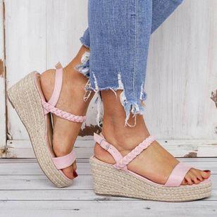 Women's Buckle Slingbacks Nubuck Wedge Heel Sandals Platforms_2