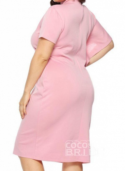 Pink Plus Size Solid Round Neckline Casual Ruffles Knee-Length Plus Dress_2