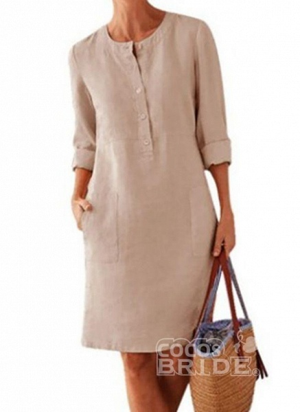 Light Gray Plus Size Solid Round Neckline Casual Pockets Above Knee Plus Dress_2