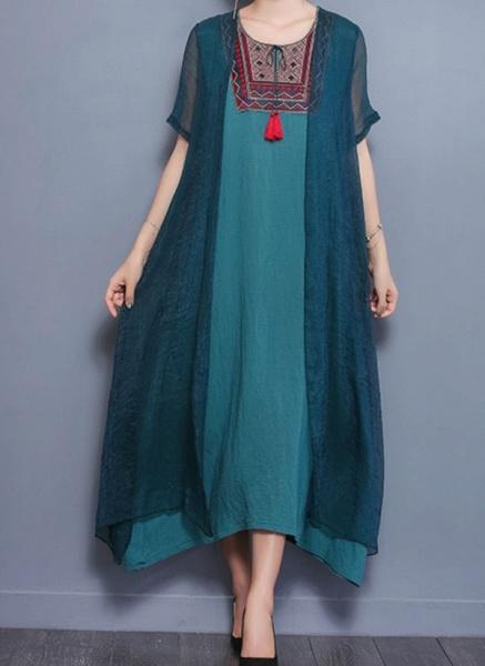 Arabian Floral Tunic Round Neckline Shift Dress_2