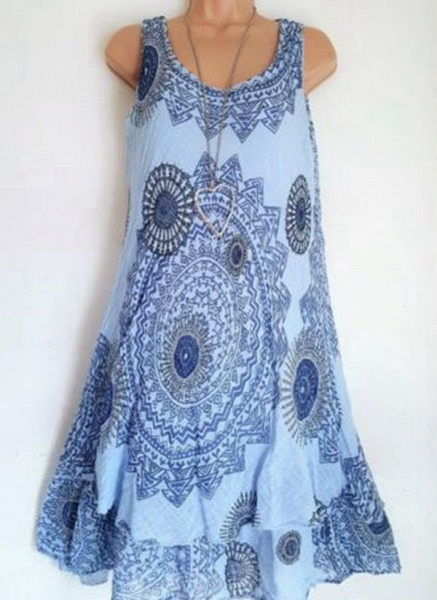 Casual Floral Round Neckline Above Knee Shift Dress_5