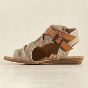 Women's Buckle Zipper High Top Flat Heel Sandals_2