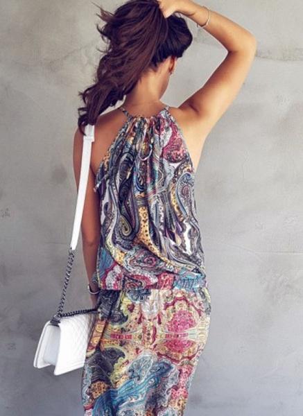 Casual Geometric Round Neckline Maxi X-line Dress_6
