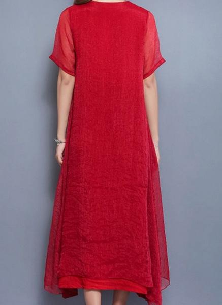 Arabian Floral Tunic Round Neckline Shift Dress_1