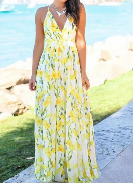 Elegant Floral Wrap Slip X-line Dress_4