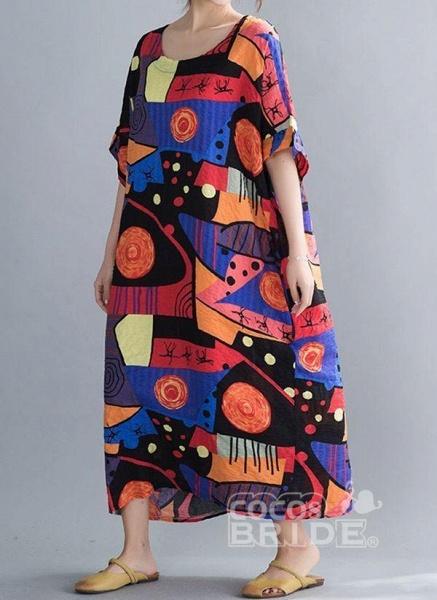 Blue Plus Size Tunic Color Block Round Neckline Casual Midi Plus Dress_2