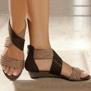Women's Zipper Round Toe Wedge Heel Sandals_6