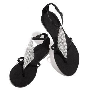 Women's Crystal Flip-Flops Flat Heel Sandals_2