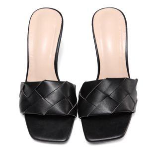 Women's Braided Strap Square Toe Slingbacks Flat Heel Sandals_1