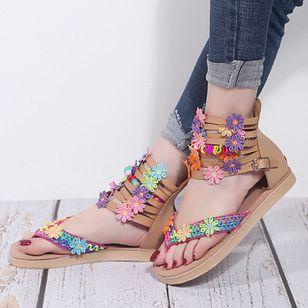 Women's Buckle Flower Flip-Flops Flat Heel Sandals_4