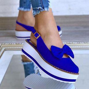 Women's Bowknot Buckle Slingbacks Wedge Heel Sandals_5