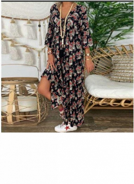 Black Plus Size Tunic Floral V-Neckline Casual Maxi Plus Dress_2