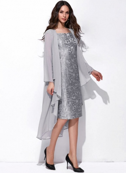 Arabian Solid Wrap Square Neckline Sheath Dress_3