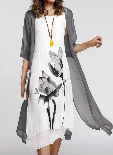 Floral Wrap Round Neckline Midi X-line Dress_22