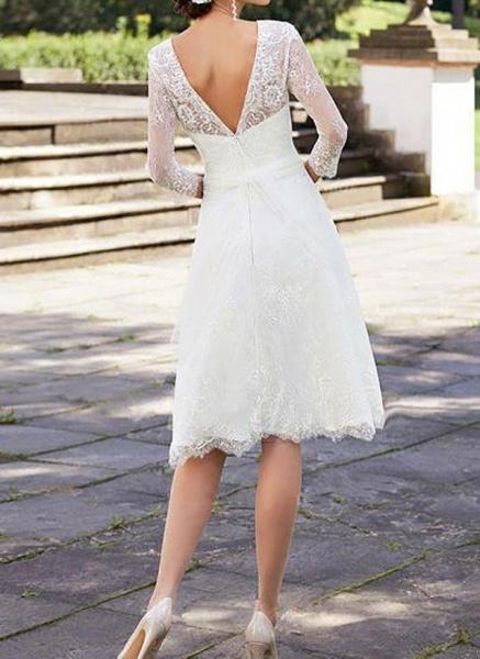 White Plus Size Skater Solid Round Neckline Elegant Lace Plus Dress_1