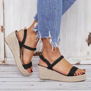 Women's Buckle Slingbacks Nubuck Wedge Heel Sandals Platforms_5