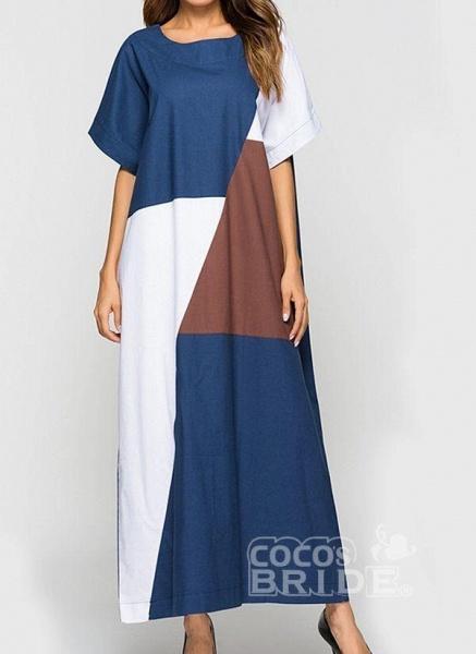 Blue Plus Size Tunic Color Block Round Neckline Casual Maxi Plus Dress_3